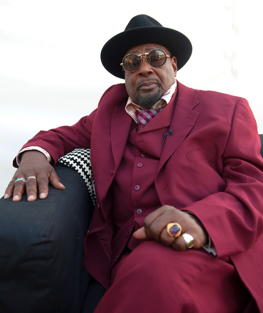 George Clinton pictured backstage before his headline set at Wilderness on Aug. 8, 2015 in Oxford, United Kingdom.