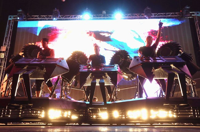Boreta, Ooah and edIT of The Glitch Mob perform onstage during Coachella 2014