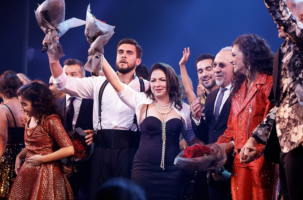 """Josh Segarra, Gloria Estefan, Emilio Estefan, Ana Villafane and Jerry Mitchell during the opening night curtain call for """"On Your Feet"""" at Marquis Theatre on Nov. 5, 2015 in New York City."""
