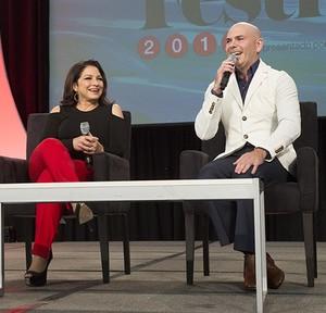 Gloria Estefan and Pitbull at People En Espanol Festival