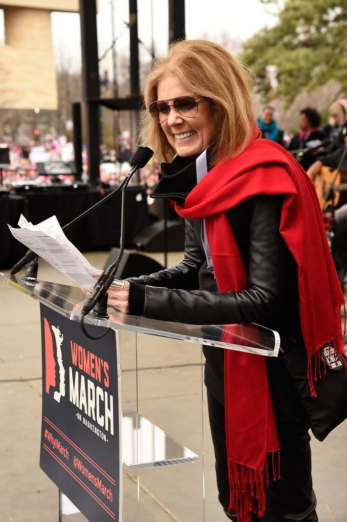 Gloria Steinem speaks onstage at the rally at the Women's March on Washington on January 21, 2017 in Washington, DC.  (Photo by Kevin Mazur/WireImage)