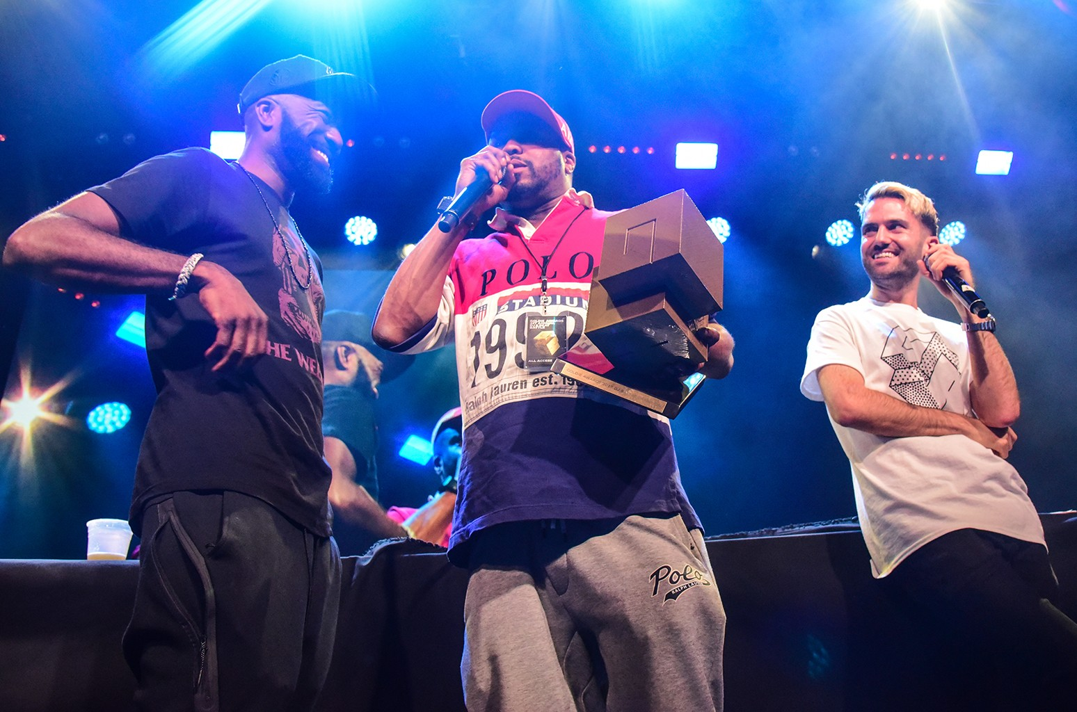 Desus, Just Blaze, and A-Trak at the Goldie Awards held at Brooklyn Steel in New York City on Sept. 7, 2017.
