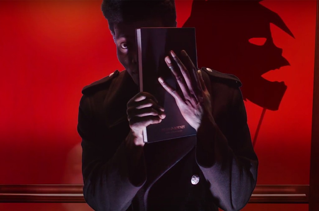 A scene from the video for Hallelujah Money by Gorillaz featuring Benjamin Clementine