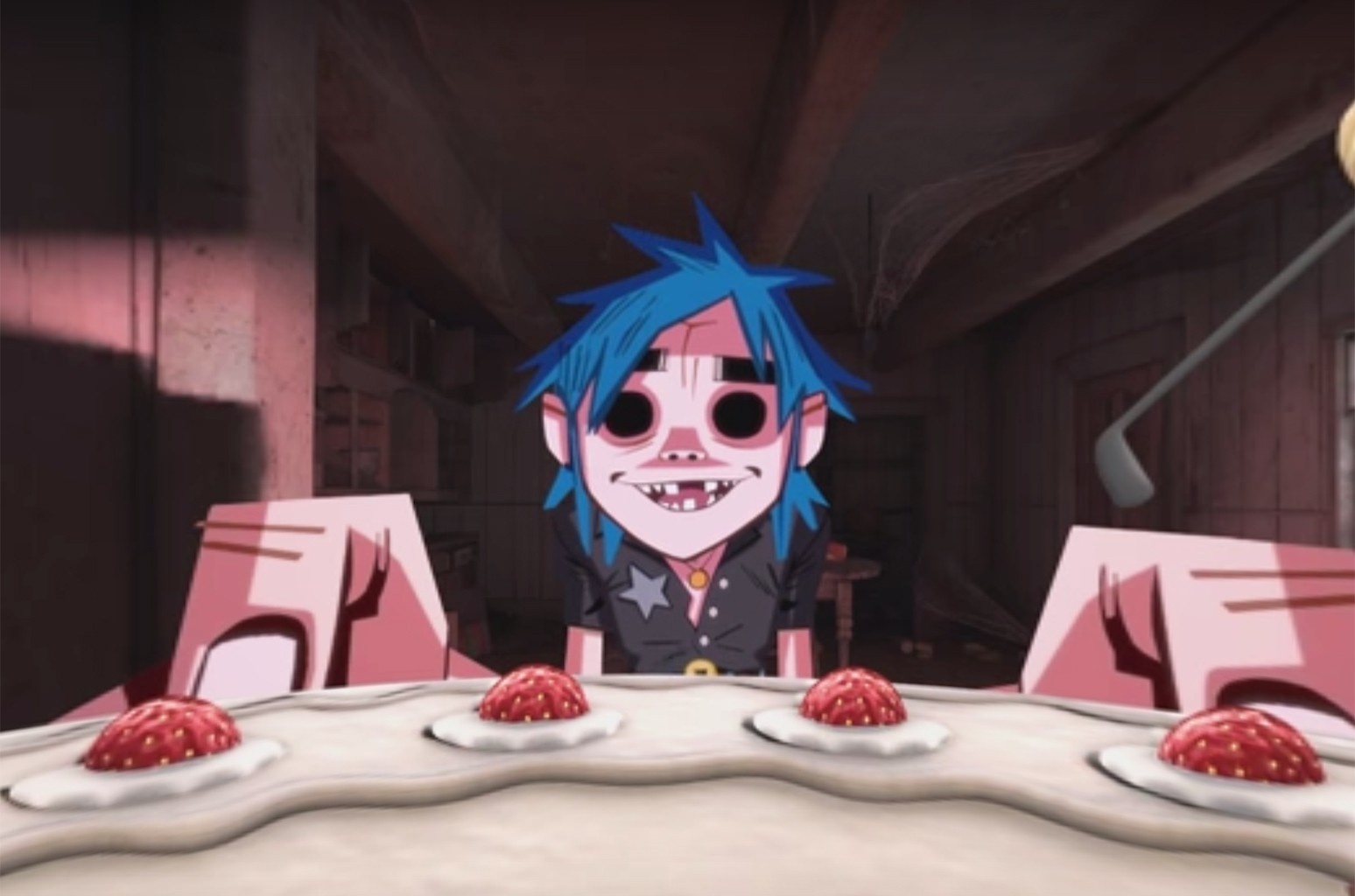 """A scene from the video for """"Saturnz Barz (Spirit House)"""" by Gorillaz."""