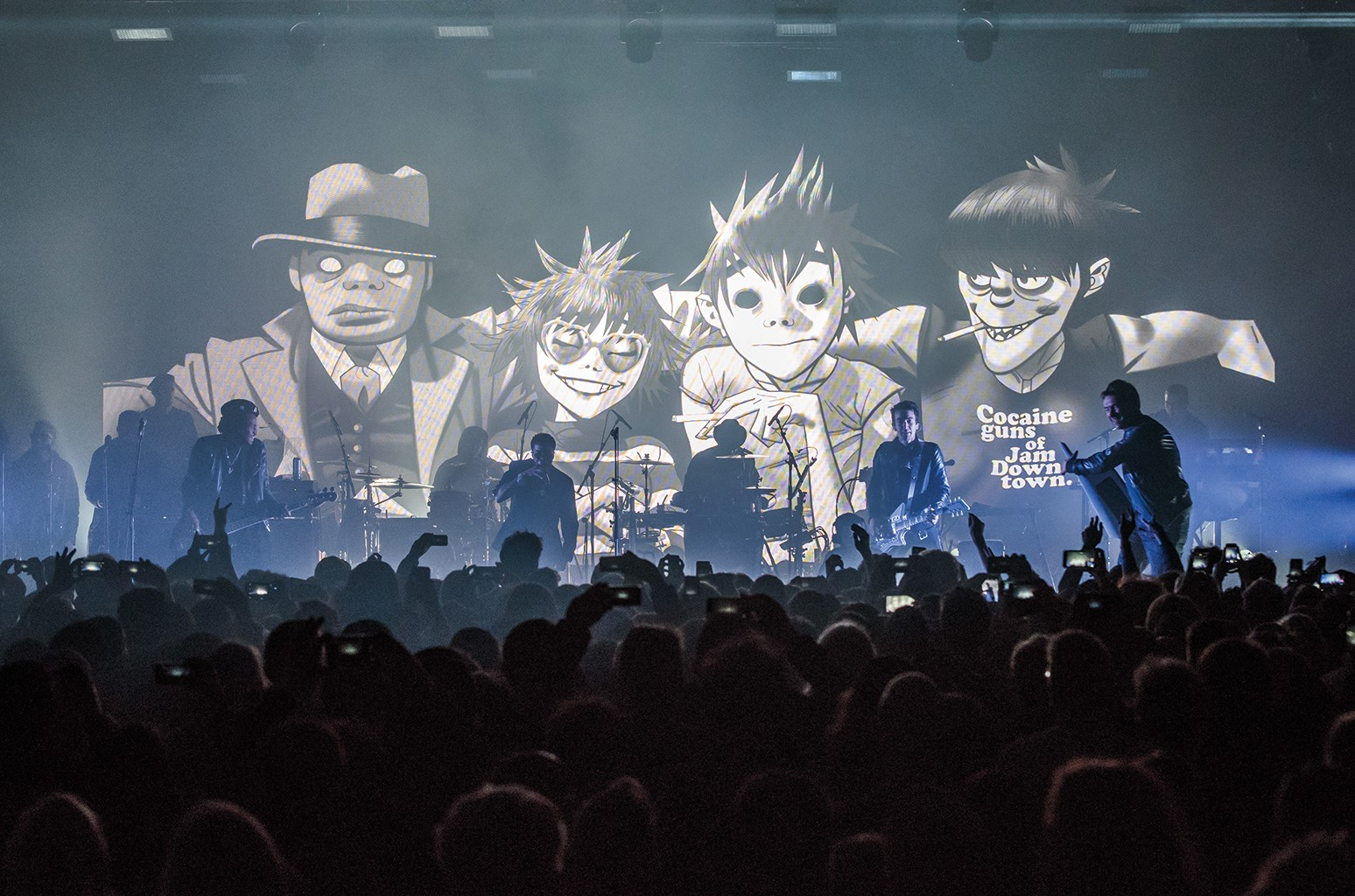 "Gorillaz perform their new album ""Humanz"" live on March 24, 2017 in London."