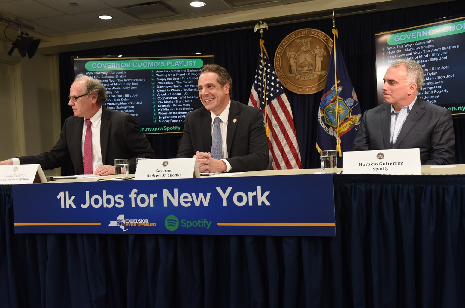 Governor Cuomo announces Spotify to relocate and expand its US Headquarters at 4 World Trade Center on Feb. 15, 2017 in Albany, New York.