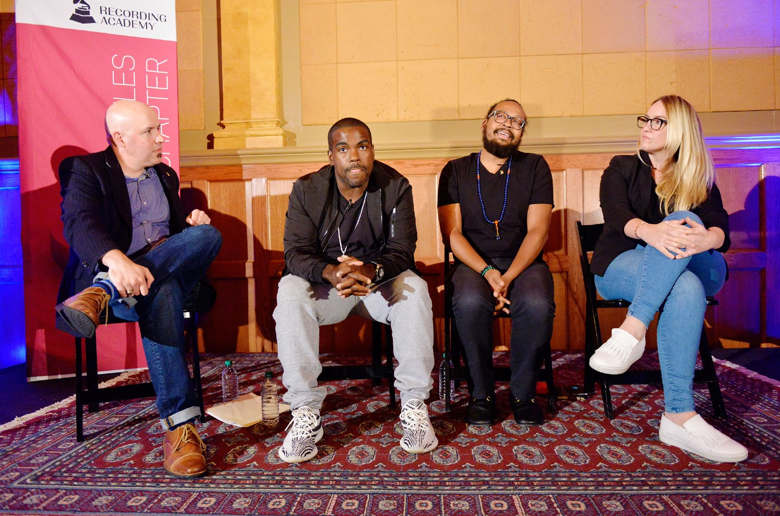 Senior Director, Advocacy & Public Policy for The Recording Academy Todd Dupler, Producer Rodney Jerkins, Producer Om'Mas Keith and MoZella attend the town hall event held at Village Recorders on Sept. 14, 2017 in Los Angeles.