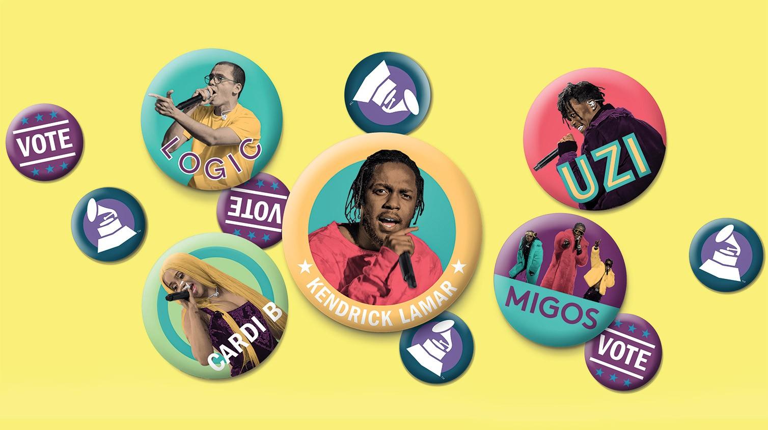 Clockwise from top left: Logic, Lil Uzi Vert, Migos, Lamar and CardiB.