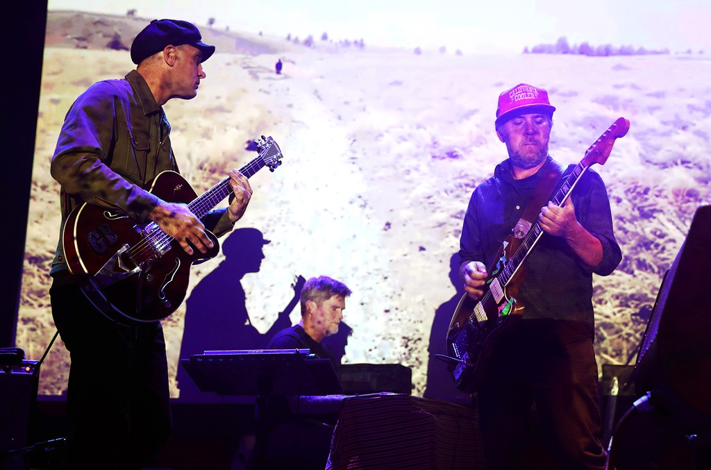 Jim Fairchild, Tim Dryden and Jason Lytle of Grandaddy perform at the Roundhouse on April 3, 2017 in London.
