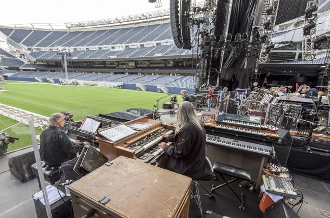 The Grateful Dead during rehearsal for the 'Fare Thee Well, A Tribute To The Grateful Dead' on July 3, 2015 in Chicago.