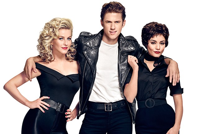 Julianne Hough (Sandy), Aaron Tveit (Danny) and Vanessa Hudgens (Rizzo) in Grease: Live on FOX.