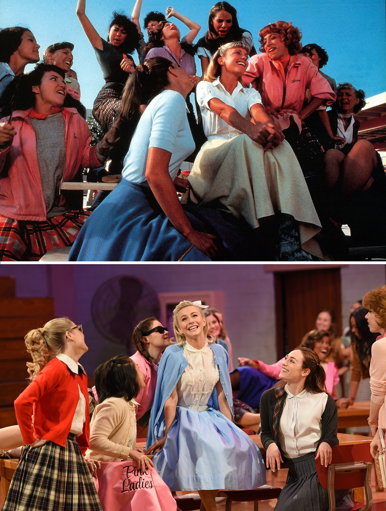 Grease Flashback See Side By Side Snaps Of The Grease Live Cast And The Original Movie Stars Billboard
