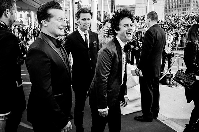 Tre Cool, Mike Dirnt and  Billie Joe Armstrong of the band Green Day attend the 30th Annual Rock And Roll Hall Of Fame Induction Ceremony