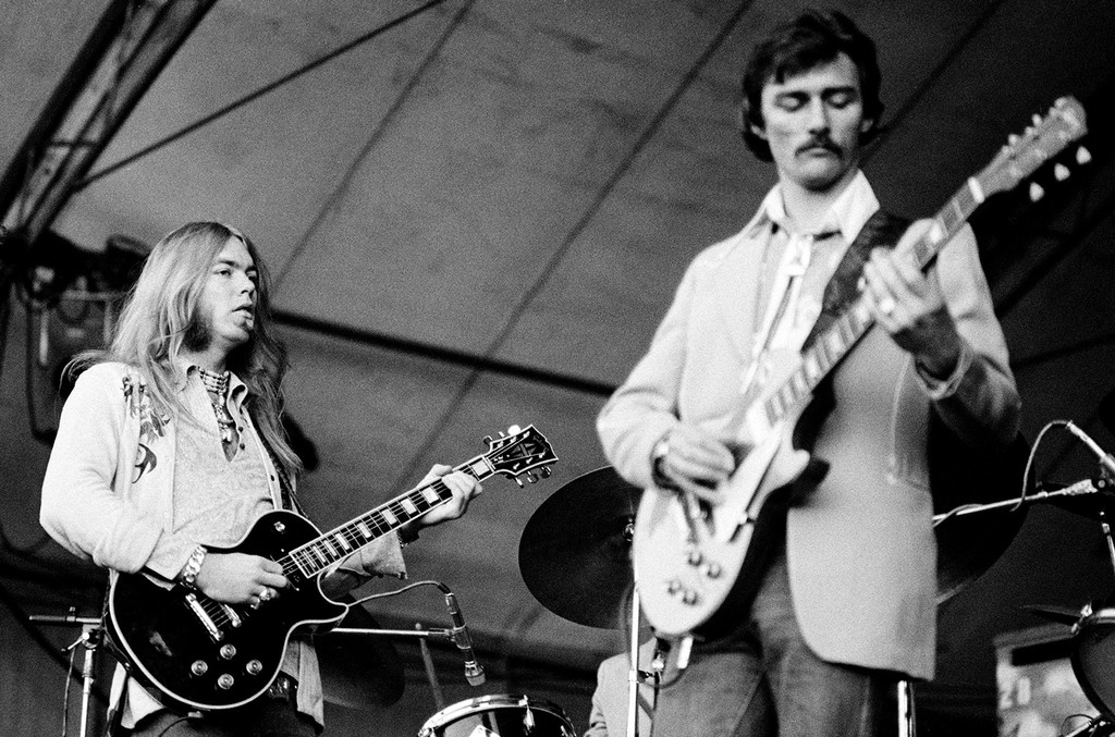 Gregg Allman (left) and Dickey Betts of the Allman Brothers perform live in Holland in 1975.