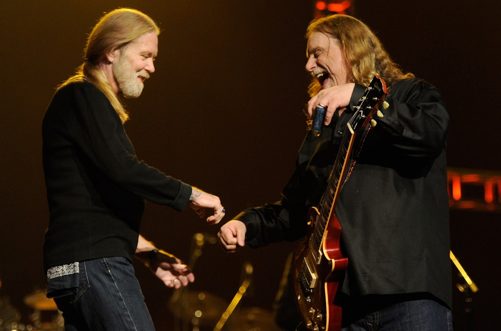 Warren Haynes and Gregg Allman perform on stage during 'Love For Levon' Benefit To Save The Barn at Izod Center on Oct. 3, 2012 in East Rutherford, N.J.
