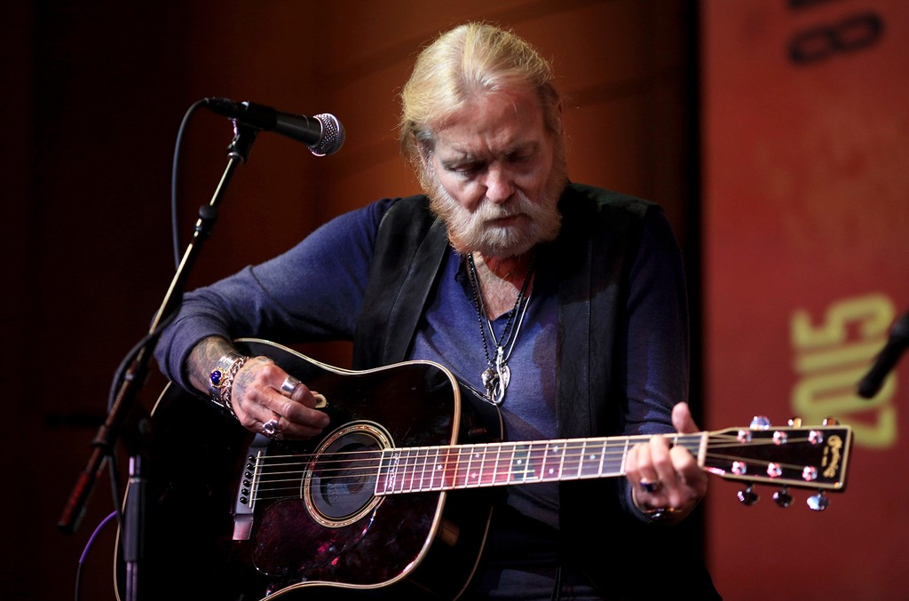 """Gregg Allman performs at """"Celebrating Gregg Allman: Storytelling And Special Performances, Featuring Eric Church"""" at Skirball Cultural Center on Sept. 24, 2015 in Los Angeles."""
