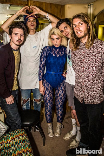 Grouplove chill out in their trailer during Coachella