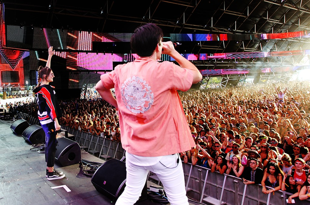 Gryffin and Daya perform on the Sahara Stage during day 2 of the Coachella Valley Music And Arts Festival (Weekend 1) at the Empire Polo Club on April 14, 2017 in Indio, Calif.
