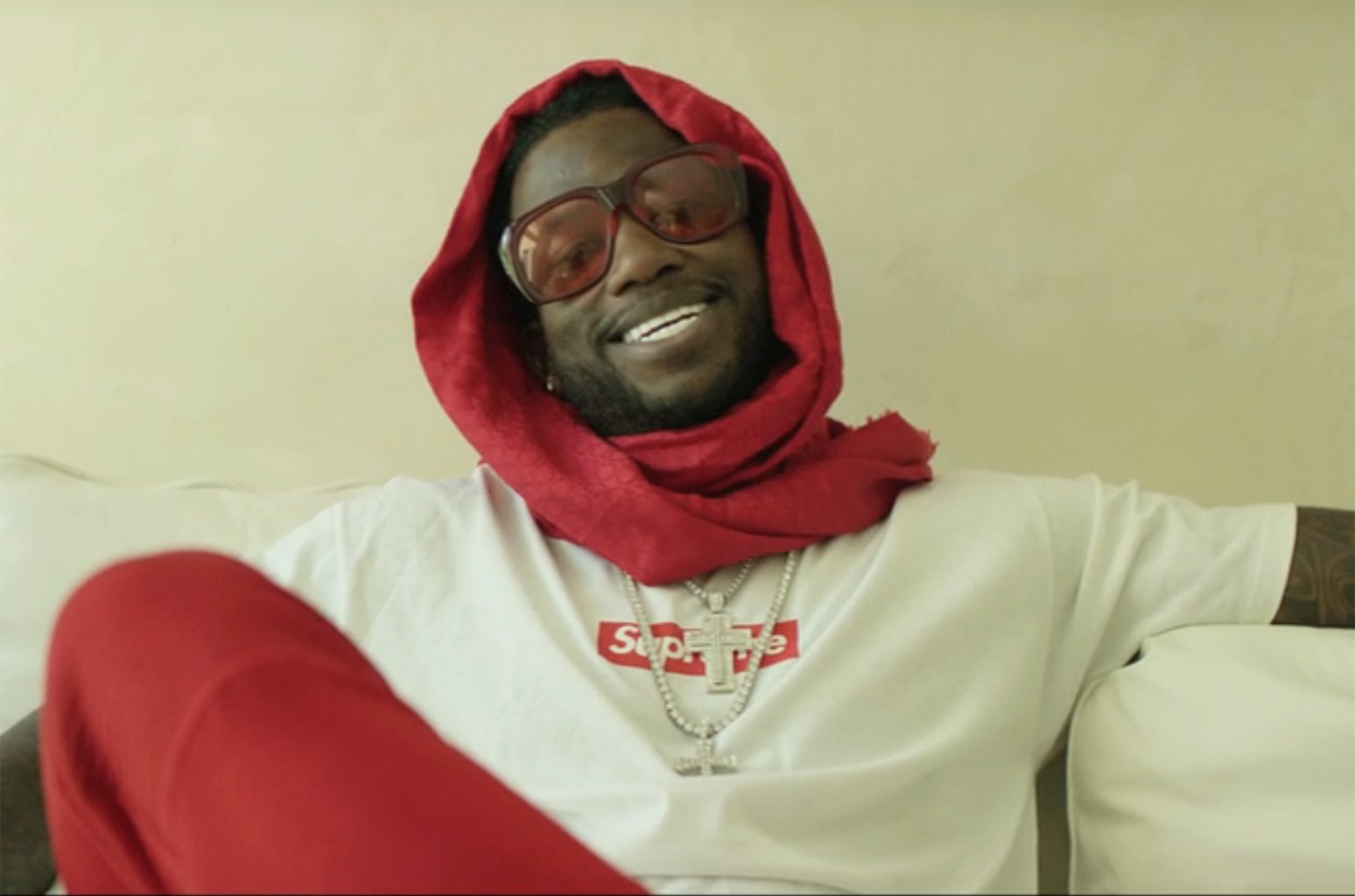 Gucci Mane in an ad for Supreme