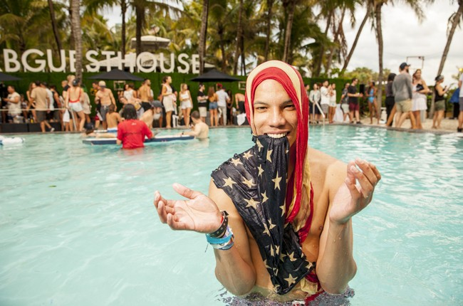 An attendee enjoys the party at Red Bull Guest House in Miami