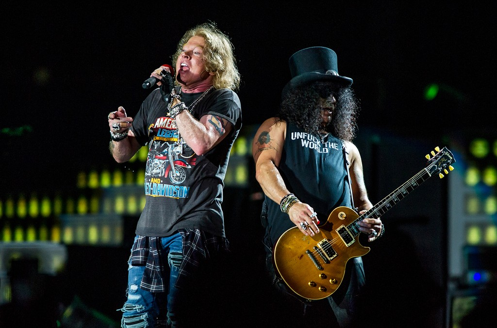 Axl Rose and Slash of Guns N' Roses perform during the 'Not In This Lifetime' Tour on Feb. 7, 2017.