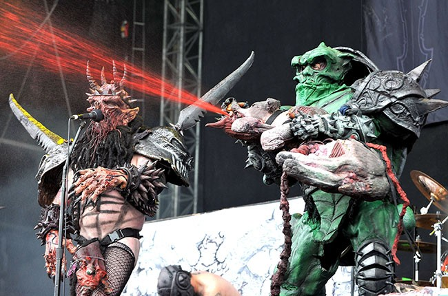 Oderus Urungus and Bonesnapper of GWAR perform on day three of the Download Festival