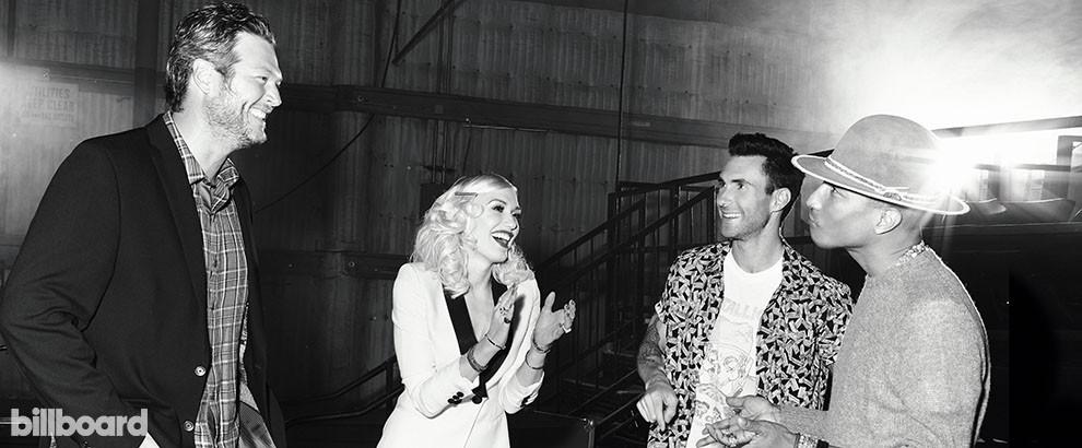 Blake Shelton, Gwen Stefani, Adam Levine and Pharrell of The Voice, 2014.
