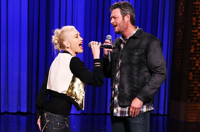 Gwen Stefani and Blake Shelton during a lip synch battle on The Tonight Show