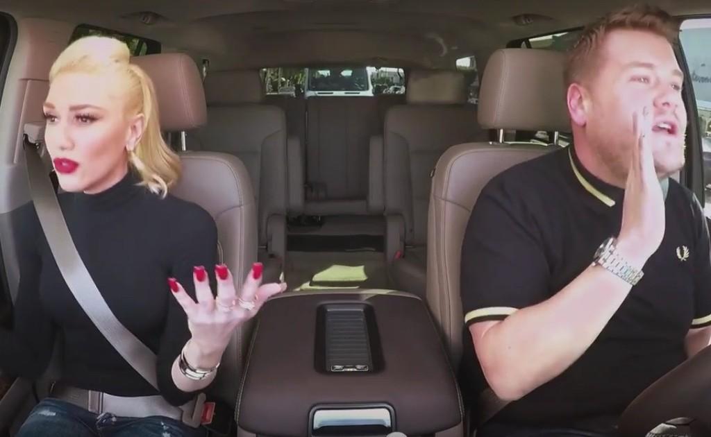"Gwen Stefani and James Corden in ""Carpool Karaoke"""
