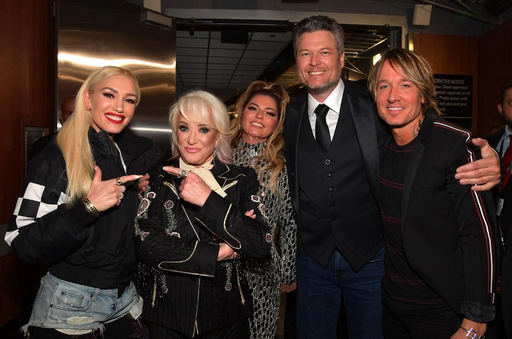 Gwen Stefani, Tanya Tucker, Shania Twain, Blake Shelton, and Keith Urban