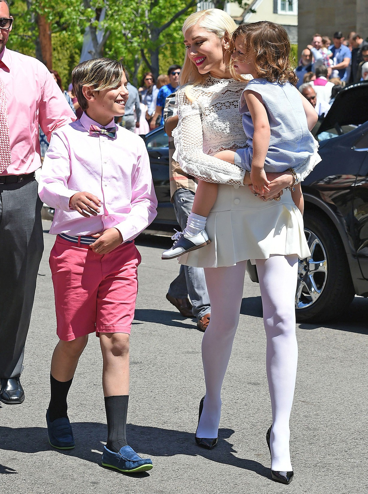 Gwen Stefani takes baby Apollo and his big brothers Kingston and Zuma Rossdale to celebrate Easter Sunday at Church on April 16, 2017 in Los Angeles.