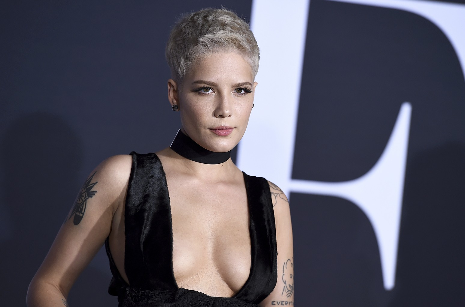 Halsey arrives at the Los Angeles premiere of Fifty Shades Darker at The Theatre at Ace Hotel on Feb, 2, 2017.