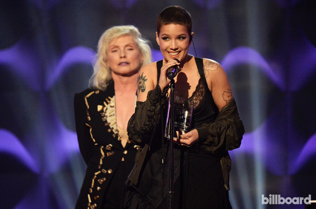 Debbie Harry presents Halsey with an award on stage at the Billboard Women in Music 2016 event on Dec. 9, 2016 in New York City.