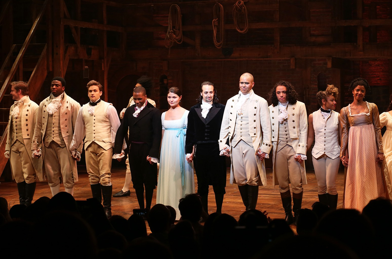 "The cast of ""Hamilton"" at Richard Rodgers Theatre on July 9, 2016 in New York City."
