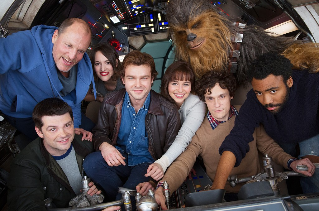 Clockwise from bottom left: co-director Phil Lord, Woody Harrelson, Phoebe Waller-Bridge, Alden Ehrenreich, Emilia Clarke, Joonas Suotamo as Chewbacca, co-director Phil Lord and Donald Glover