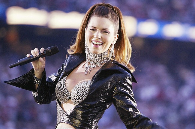 Shania Twain performs during halftime of Super Bowl 2003