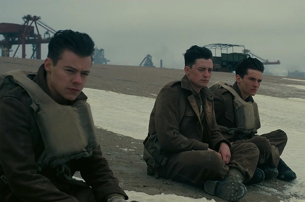 Harry Styles (left) in Dunkirk Official Trailer