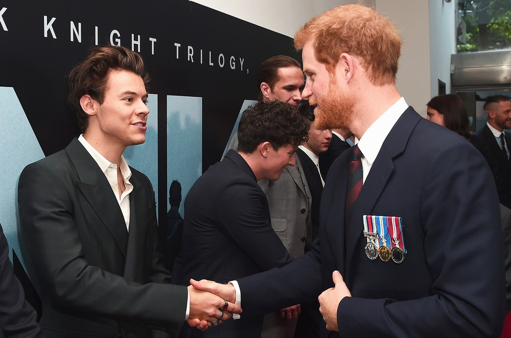 Harry Styles and Prince Harry attend the Dunkirk World Premiere at Odeon Leicester Square on July 13, 2017 in London.