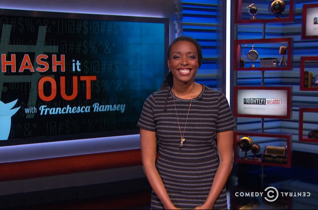 Franchesca Ramsey appears on a segment on The Nightly Show with Larry Wilmore