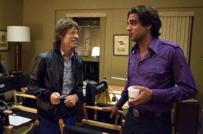 Mick Jagger with Bobby Cannavale on the set of HBO's Vinyl.