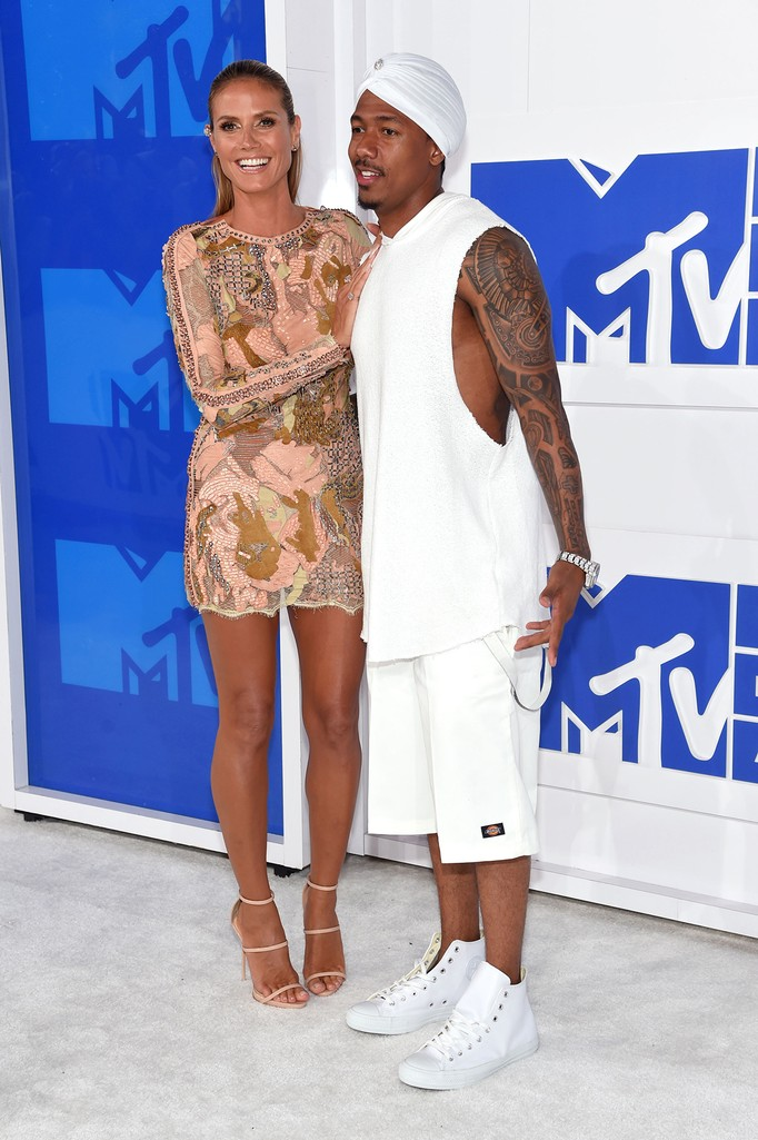 Heidi Klum and Nick Cannon attend the 2016 MTV Video Music Awards