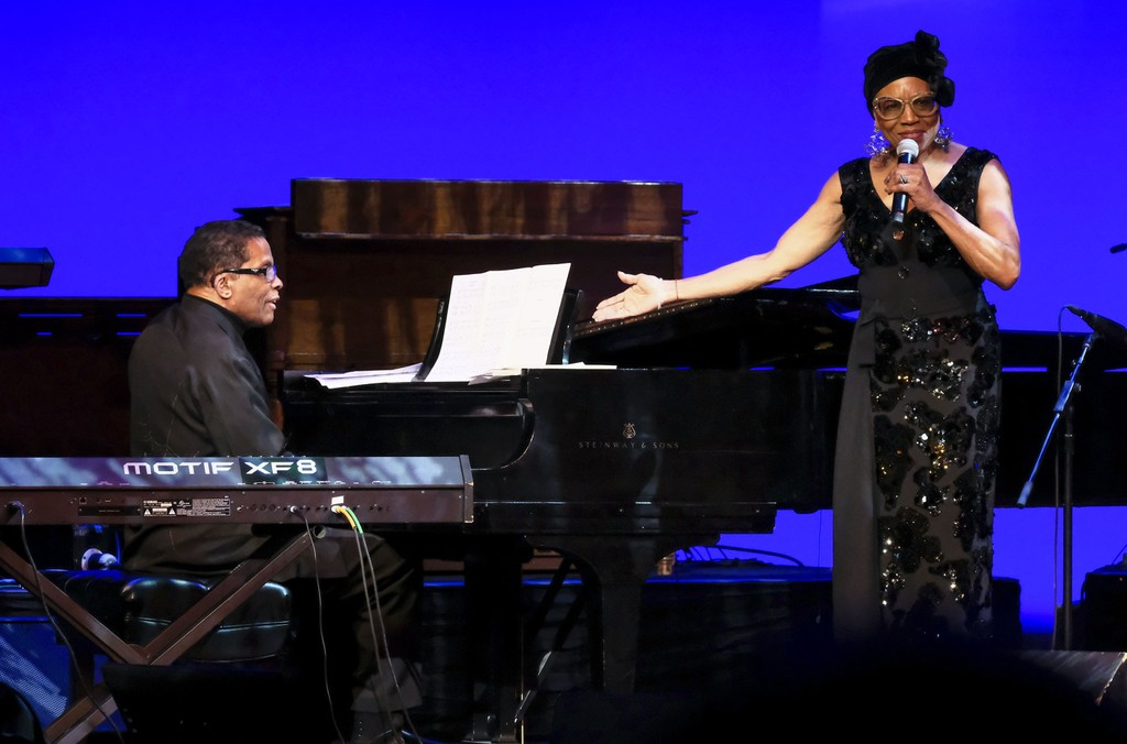 Herbie Hancock and  Dee Dee Bridgewater perform during the 2018 Thelonious Monk Institute Of Jazz International Piano Competition at the Kennedy Center Eisenhower Theater on December 3, 2018 in Washington, DC.