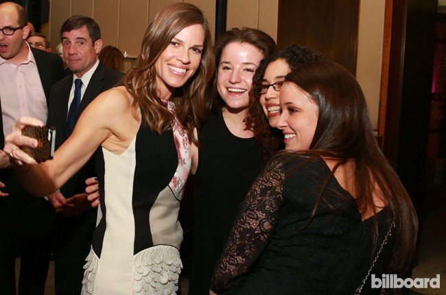 Hilary Swank, left, attends The 35 Most Powerful People in Media hosted by The Hollywood Reporter