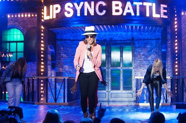 Hoda Kotb performs on Spike TV's Lip Sync Battle in 2015 against Michael Strahan.