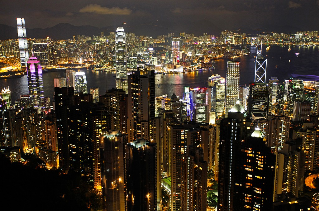 The Hong Kong city skyline seen from Victoria Peak at night.