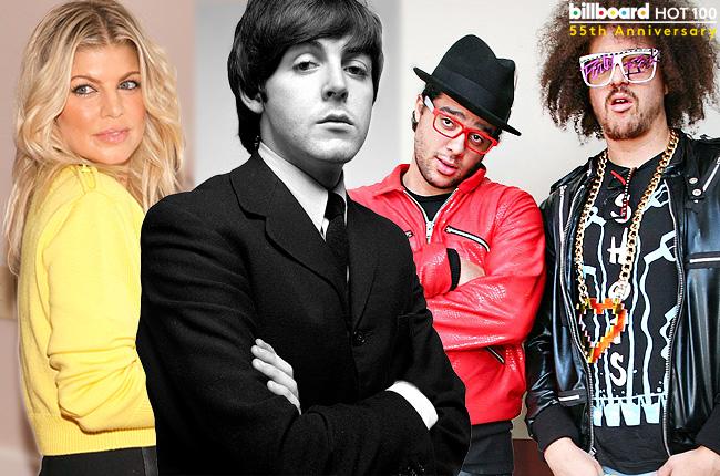 HOT 100 ALL-TIME TOP 100 SONGS LIST MCCARTNEY LMFAO FERGIE