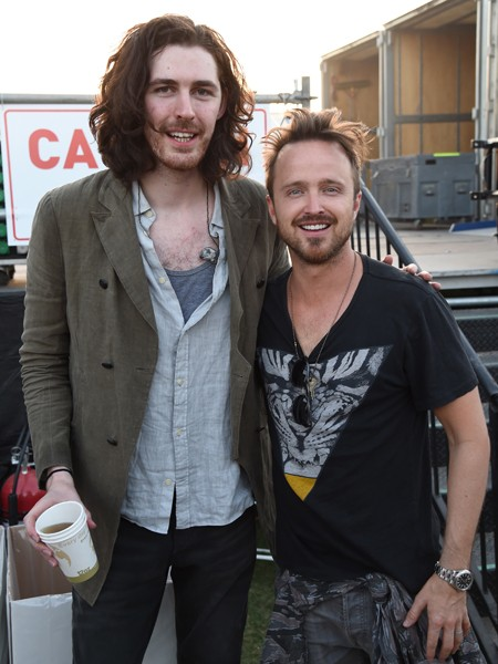 Hozier and Aaron Paul attend day 2 of the 2015 Coachella