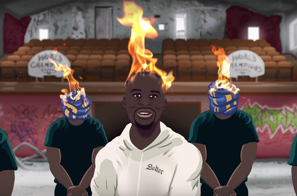 "Draymond Green in a parody video of Kendrick Lamar's ""Humble."""