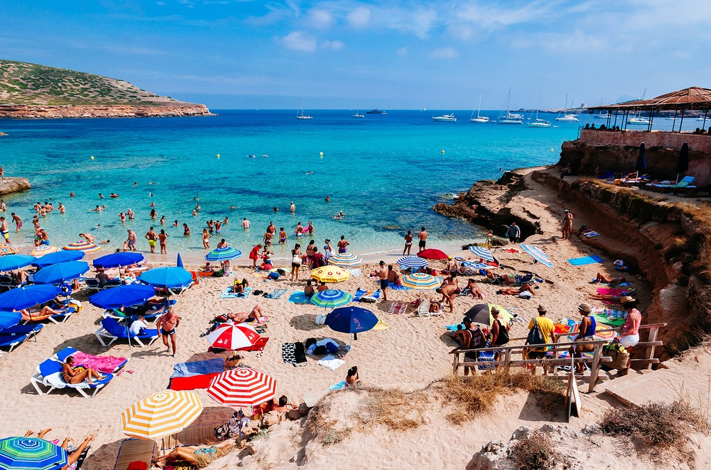 Tourists in Ibiza, Spain.