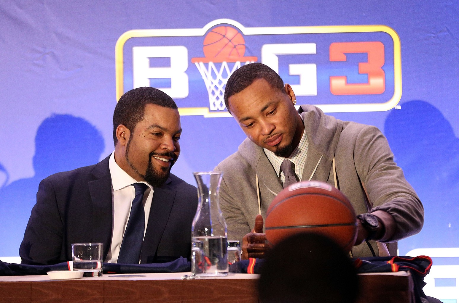 Ice Cube and Rashard Lewis attend BIG3 Press Conference on Jan. 11, 2017 in New York City.
